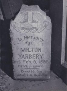 Yarberry headstone after being removed from the Santa Barbara Cemetery. Photo taken by Andy Gregg (1966) courtesy of the Albuquerque Police Department Museum.