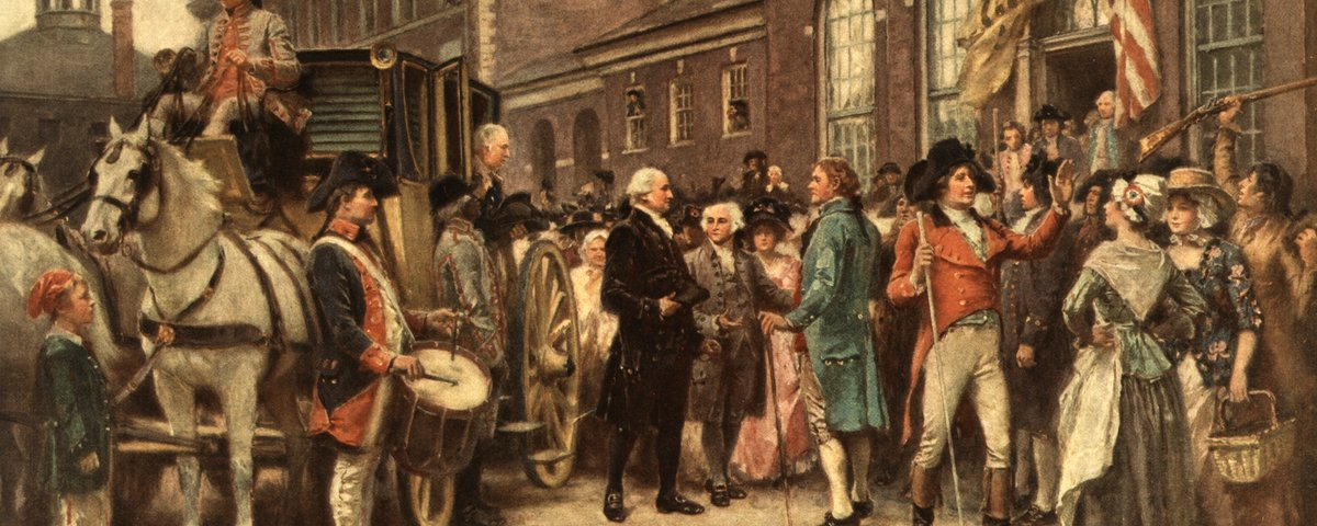 Washington's inauguration at Philadelphia: George Washington arriving at Congress Hall in Philadelphia, March 4, 1793.