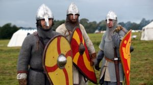 Members of an historical re-enactment groups prepare for the annual re-enactment of the Battle of Hastings. (Credit: Oli Scarff/Getty Images)