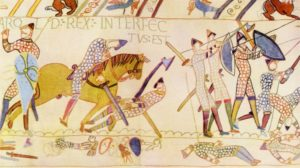 The death of Harold at the Battle of Hastings, as depicted on the Bayeux Tapestry. (Credit: Culture Club/Getty Images)
