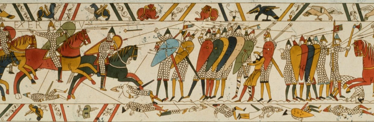 A scene from the Bayeux Tapestry, depicting the Norman Invasion of 1066. (Credit: Hulton Archive/Getty Images)